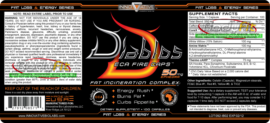 Diablos ECA fire Innovative Labs - 100 капс. 50 мг эка в 1 капсуле